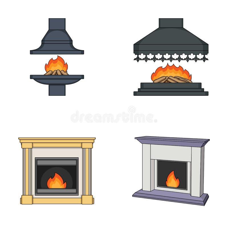 Feuer, Wärme und Komfort Vector gesetzte Sammlungsikonen des Kamins in der Karikaturart Illustrationsnetz des Symbols auf Lager stock abbildung