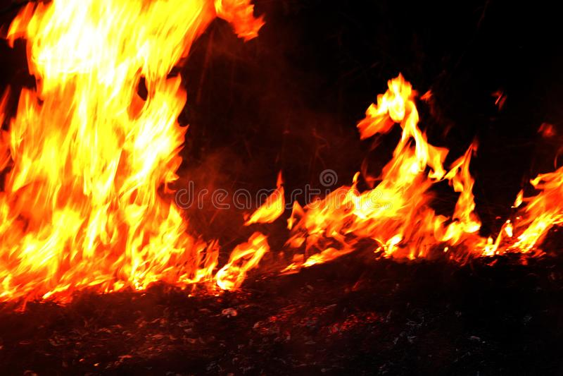 Feuer, Waldbrand nachts, selektiver Fokus des brennenden Heus des Feuers stockbild