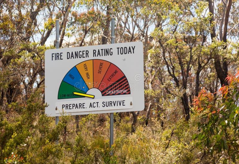 Feuer-Warnschild-Tief-Gemäßigte Australien stockfotografie