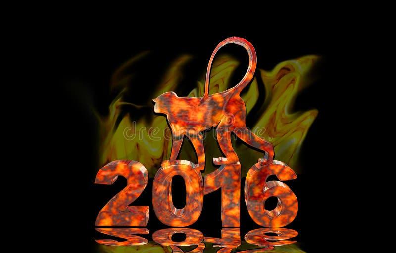 Feueraffe ist auf den 2016 Zahlen stockfotos