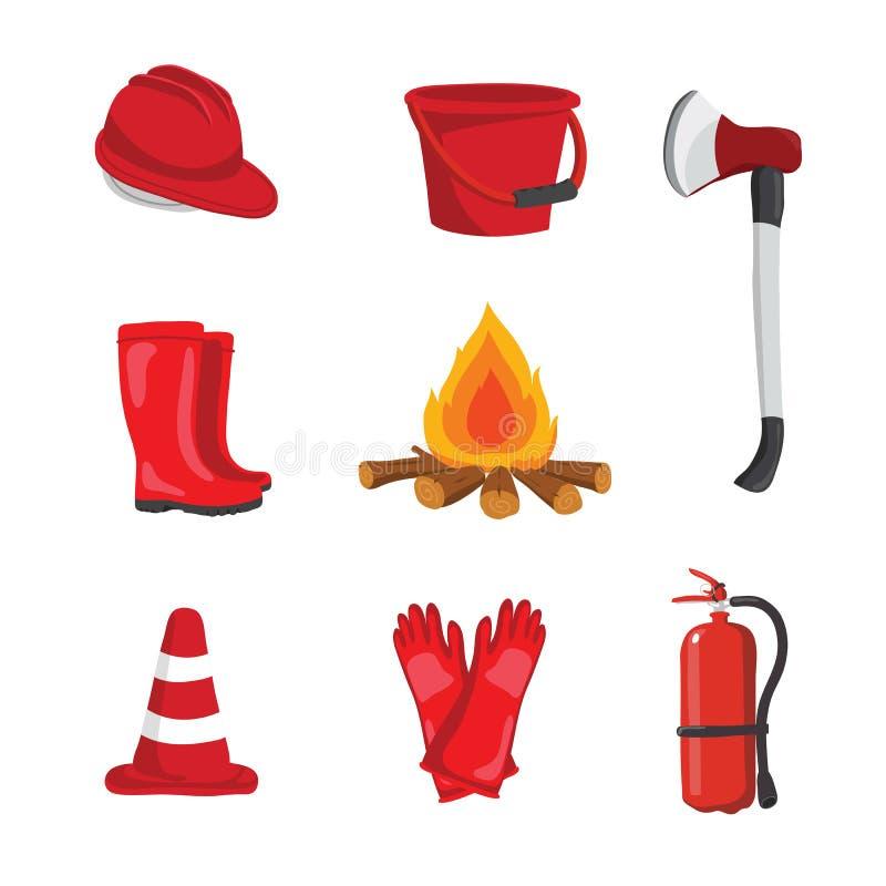 Feuerausrüstungsvektor-Sammlungsdesign lizenzfreie abbildung