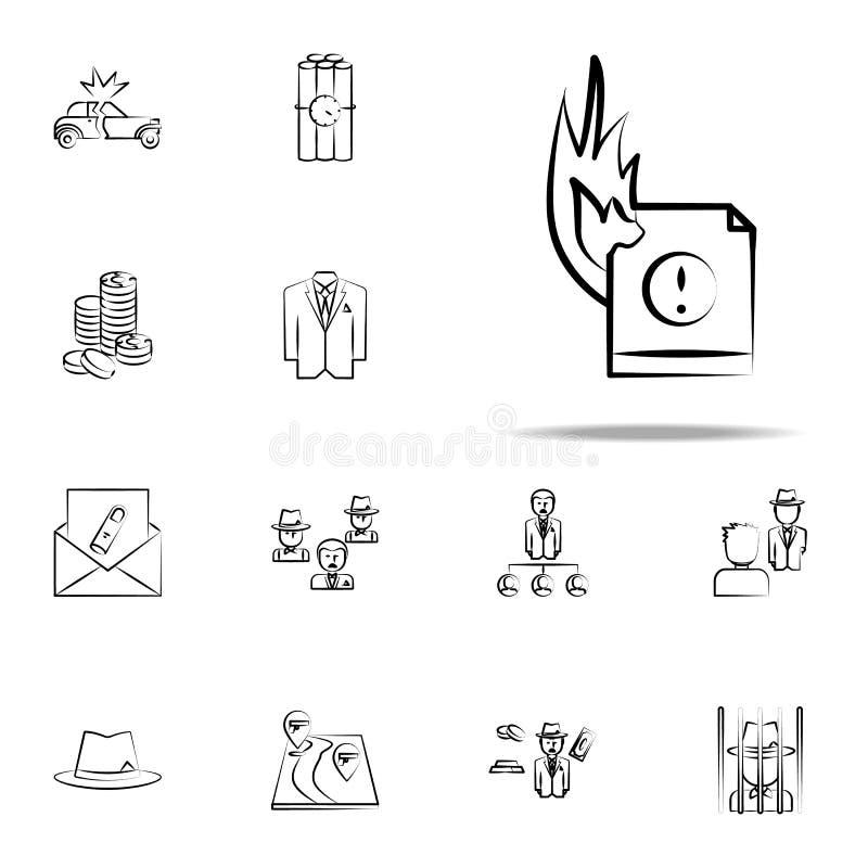 Feuerdatei, kriminelle Ikone Mafiaikonen-Universalsatz für Netz und Mobile vektor abbildung