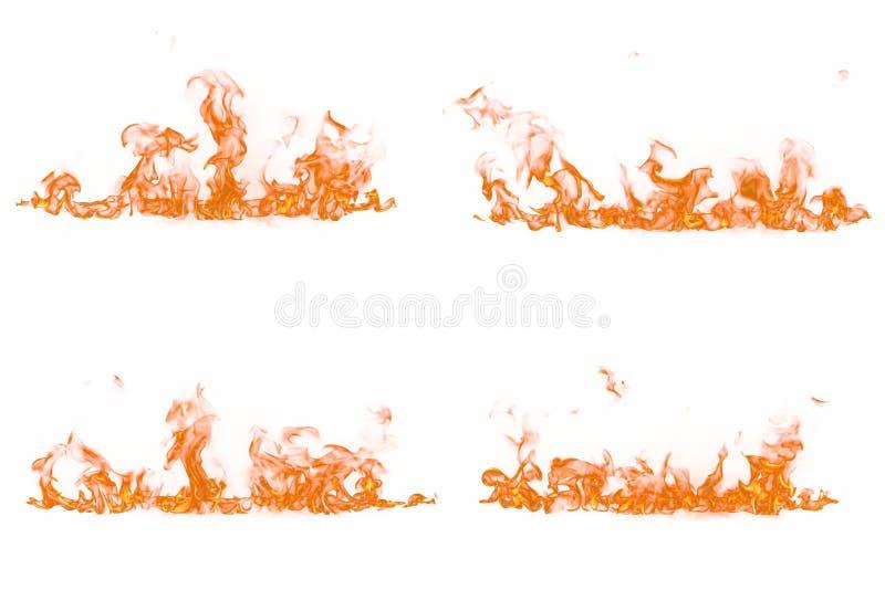 Feuerflammen auf weißem Hintergrund stockbilder