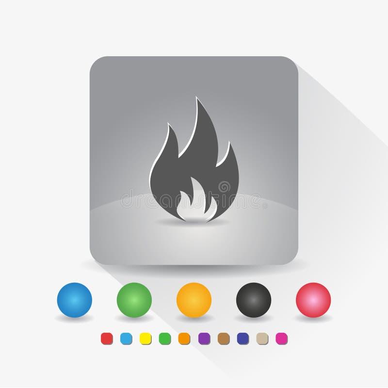 Feuerflammenikone Zeichensymbol App in der runden Ecke der grauen quadratischen Form mit langer Schattenvektorillustration und Fa vektor abbildung