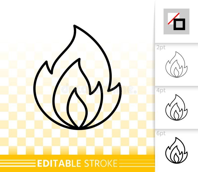 Feuerflammenschwarzlinie Feuerlicht-Vektorikone stock abbildung