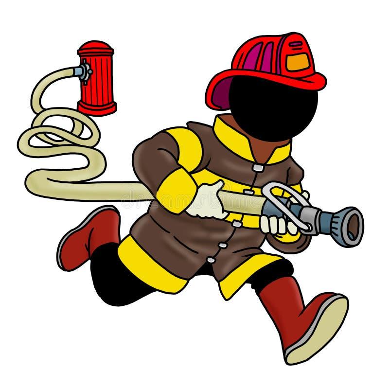 Feuerkämpfer, der einen Schlauch anhält lizenzfreie abbildung