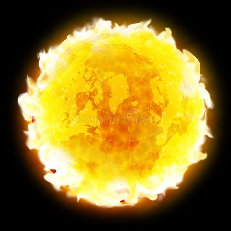Feuerkugel Erdeerwärmung lizenzfreie abbildung