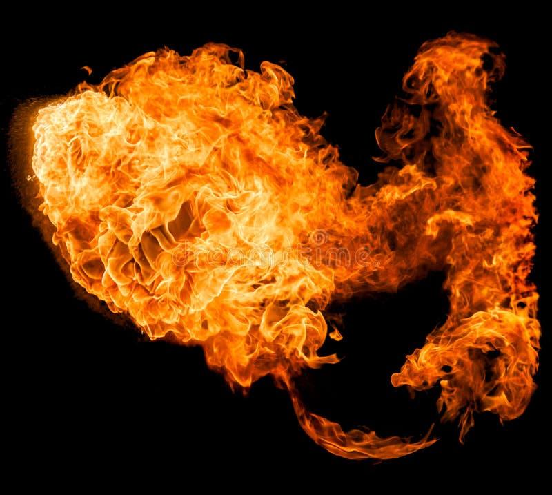 Feuerkugel lokalisiert auf einem schwarzen Hintergrund stockfotos