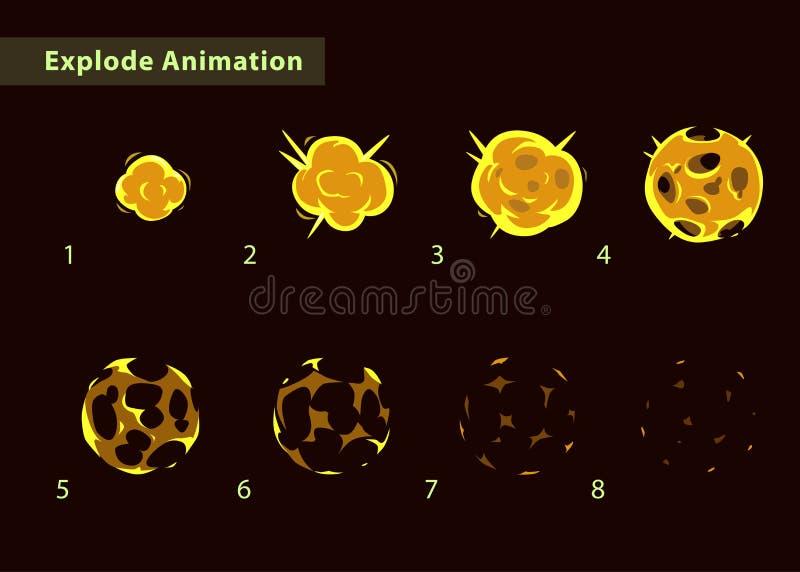 Feuerkugelexplosionselfen für Spieldesign stock abbildung