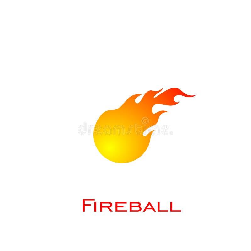 Feuerlogodesign, Feuerkugellogo, Vektorikonen lizenzfreie abbildung