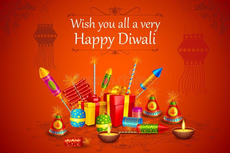 Feuern Sie Cracker mit verziertem diya für glücklichen Diwali-Feiertag von Indien ab stock abbildung