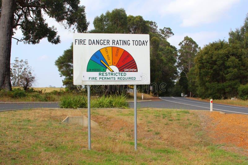 Feuern Sie das Gefahrenbewertungszeichen ab und für Bushfires in Australien warnen lizenzfreie stockfotos