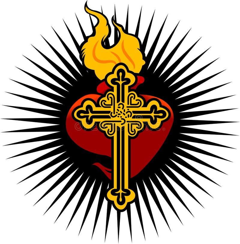 Feuern Sie Inneres und Kreuz ab stock abbildung