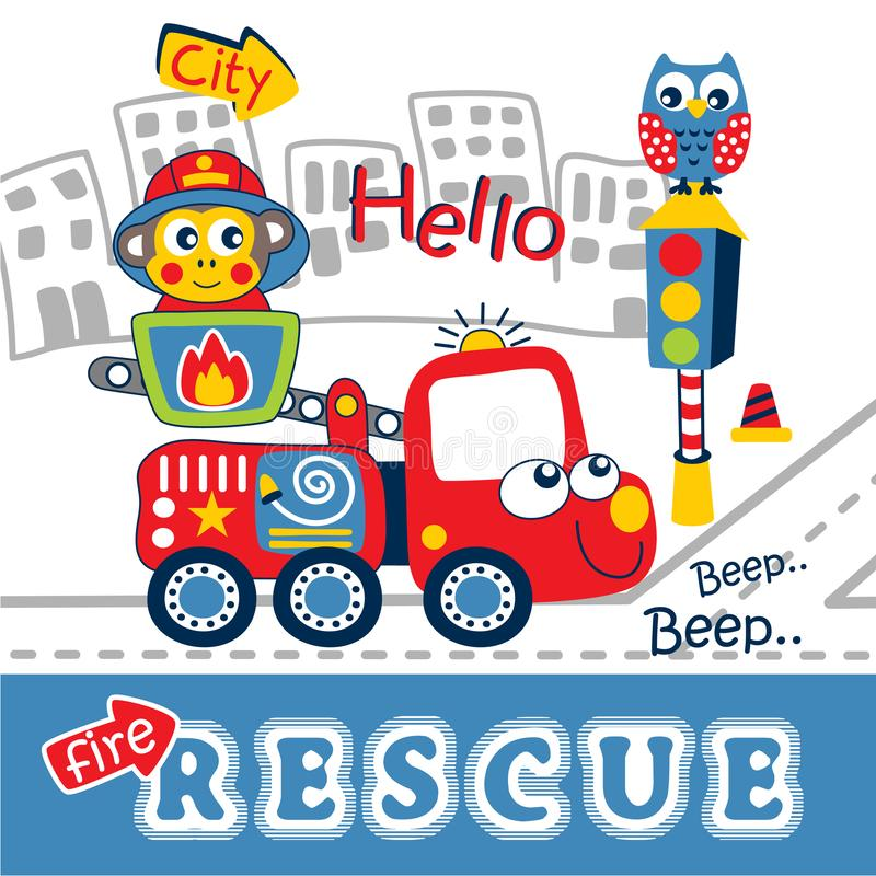 Feuern Sie Rettungslustige Tierkarikatur, Vektorillustration ab lizenzfreie abbildung