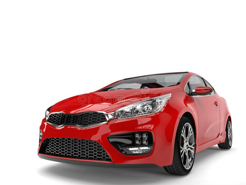 Feuern Sie roten modernen elektrischen Motor- Vorderansichtnahaufnahmeschuß ab stock abbildung