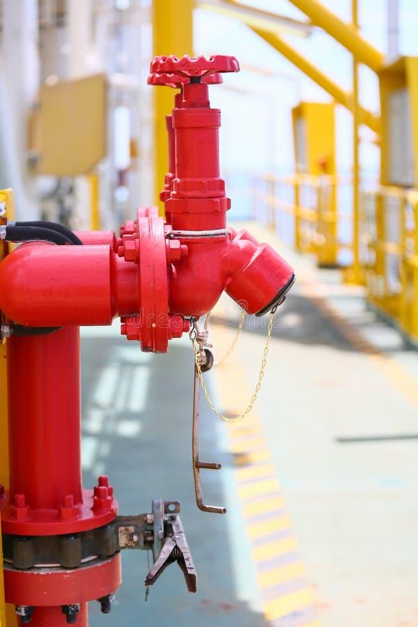 Feuern Sie Ventil, Installation des Brandschutz-, Sicherheitsfeuersystems in der Industrie oder des Prozesses, Schutzausrüstung a lizenzfreie stockbilder