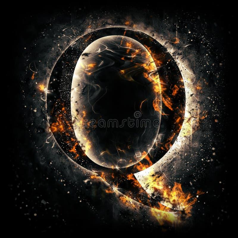 Feuern Sie Zeichen Q ab lizenzfreie abbildung