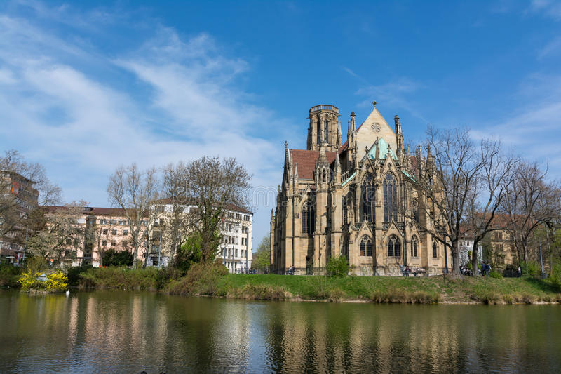 Feuersee Stuttgart Germany Europe Cathedral Religious Old Architecture Destination Visit Travel City Buildings Park Pond stock photo
