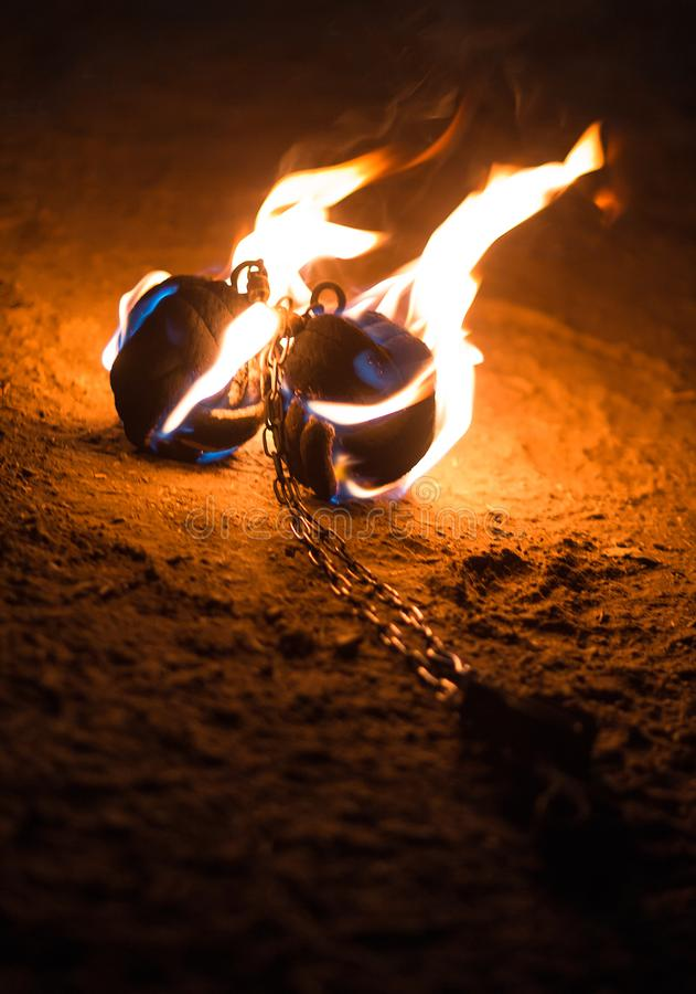 Feuershowmaterial stockfotografie