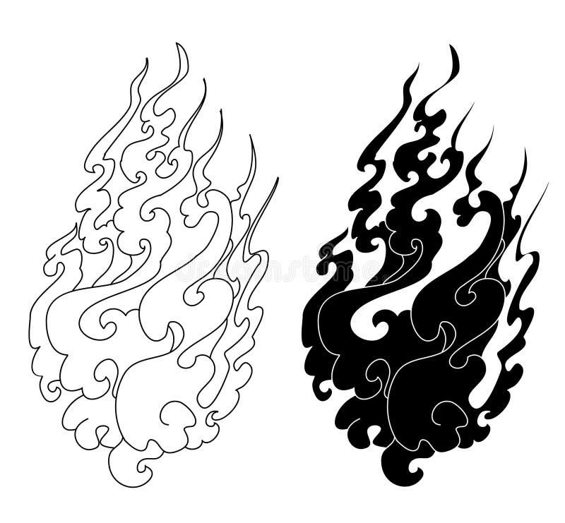 Feuertätowierung für den Druck Schwarzweiss-Aufkleberfeuerisolat auf weißem Hintergrund vektor abbildung