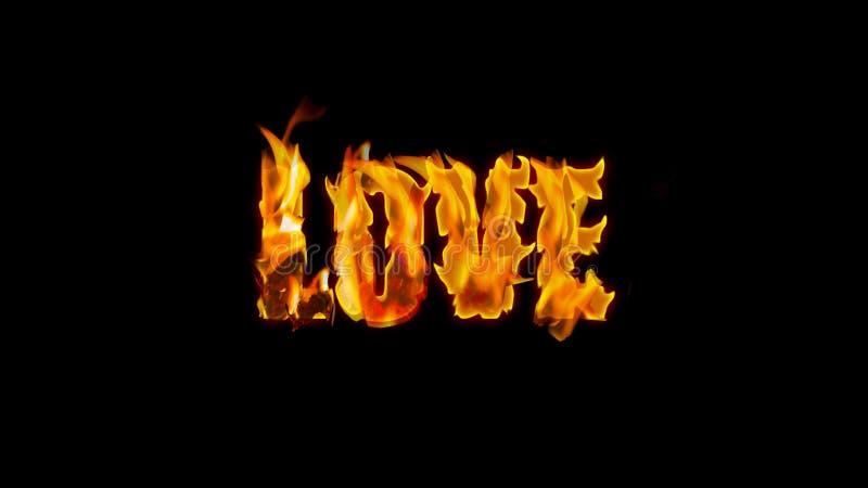 Feuertext - Liebe - auf einem schwarzen Hintergrund lizenzfreies stockfoto
