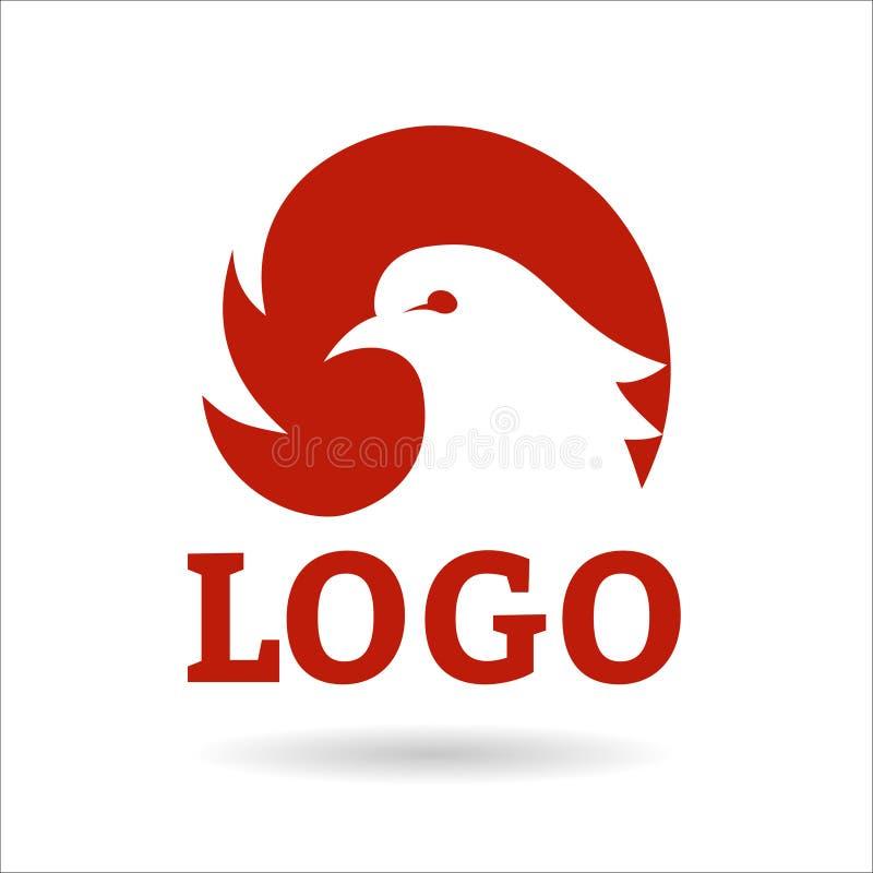 Feuervogelphoenix-Logoentwurfs-, -falke-, -adler-, -falke- und -flügelvektorikone vektor abbildung