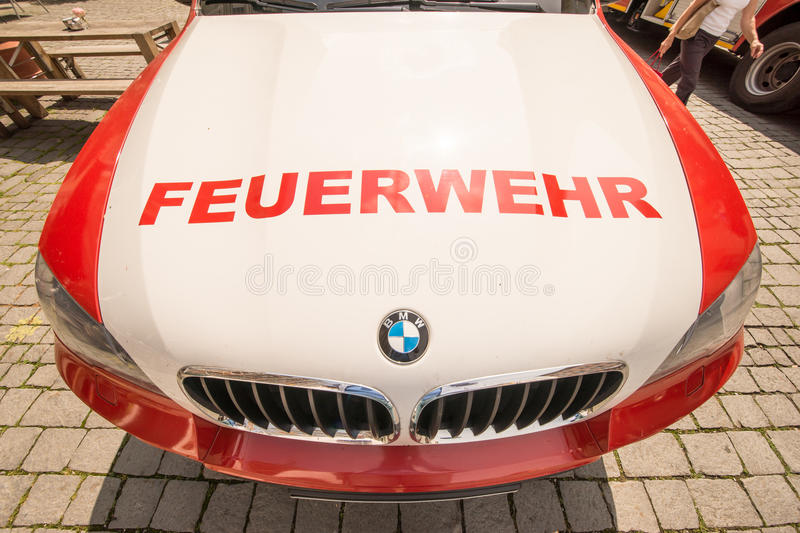 Feuerwehr. BMW car of the fire brigade in germany stock images