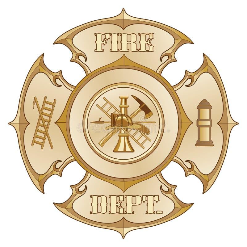 Feuerwehr-Kreuz-Weinlese-Gold vektor abbildung
