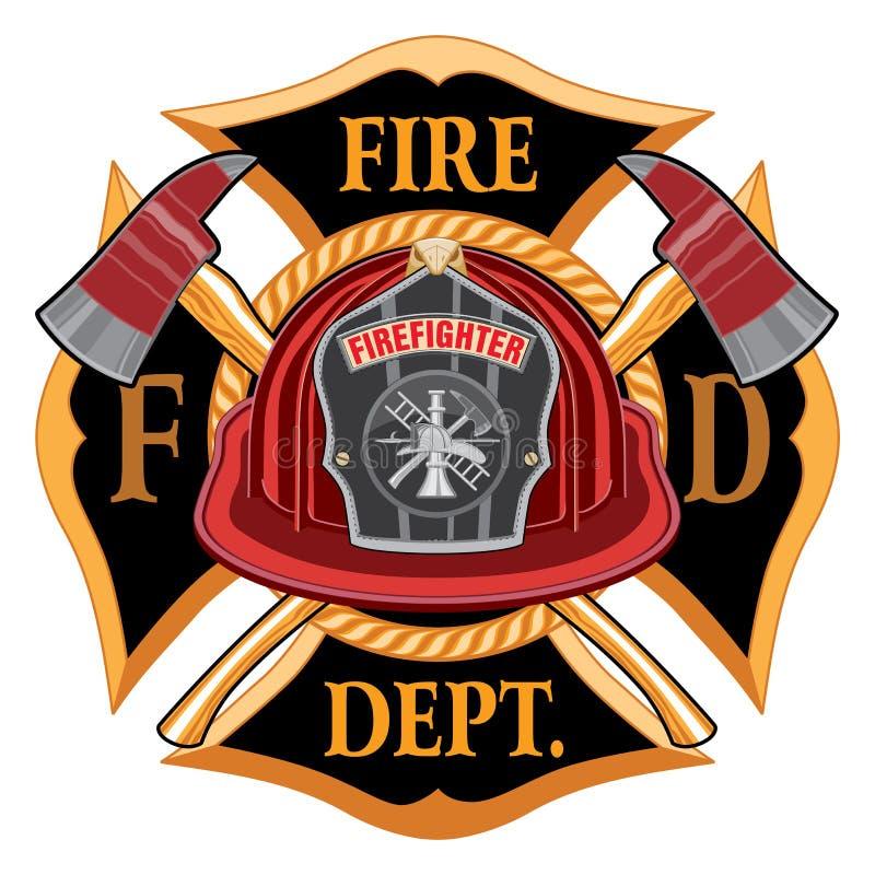 Feuerwehr-Kreuz-Weinlese mit rotem Sturzhelm stock abbildung