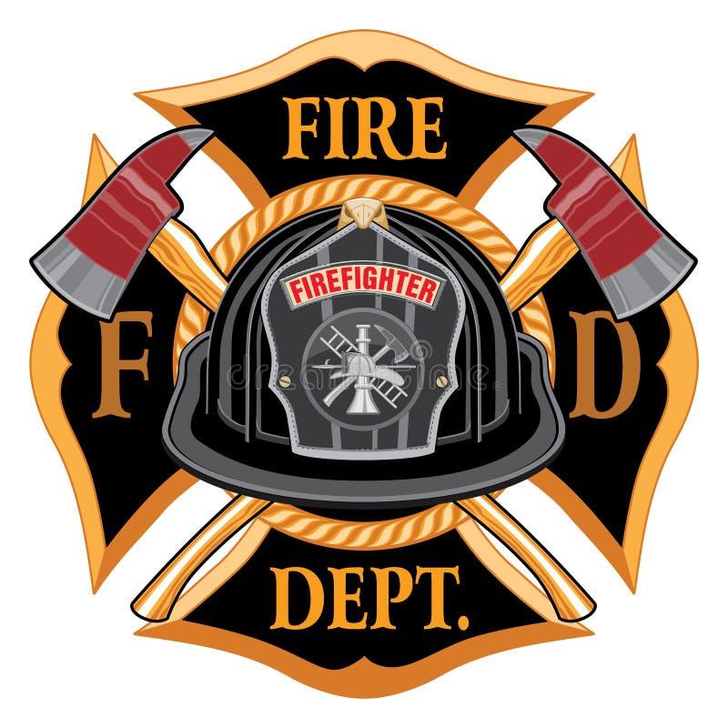 Feuerwehr-Querweinlese mit schwarzem Sturzhelm und Äxten lizenzfreie abbildung