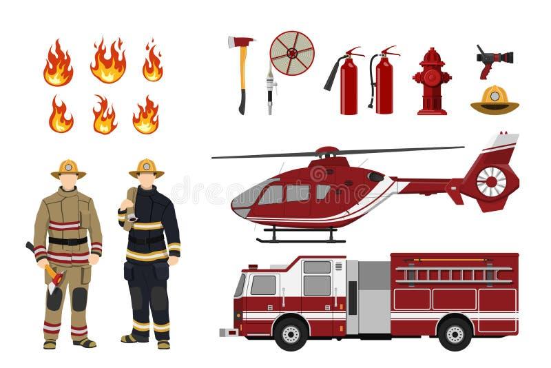 Feuerwehrmänner und Feuerbekämpfungsausrüstung auf einem weißen Hintergrund Hubschrauber und Feuerwehrmann ` s Auto Ikonen der Fl lizenzfreie abbildung