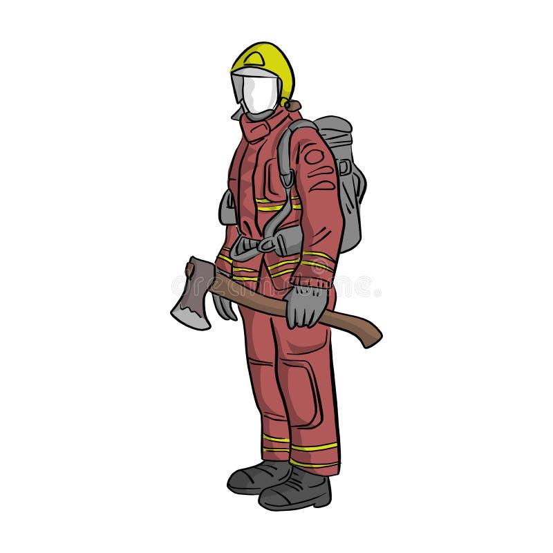 Feuerwehrmann, der mit großer Axtvektor-Illustrationsskizze Han steht stock abbildung