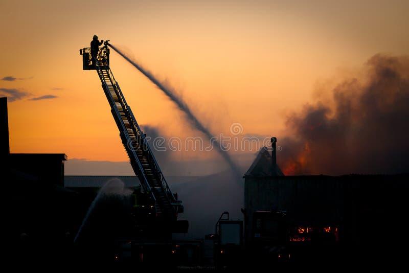 Feuerwehrmann in der Tätigkeit lizenzfreie stockbilder