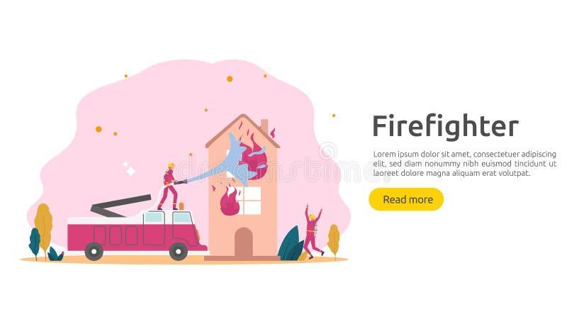 Feuerwehrmann, der Wasserspray vom Schlauch f?r brennendes Haus der Feuerbek?mpfung verwendet Feuerwehrmann in der Uniform, Feuer stock abbildung