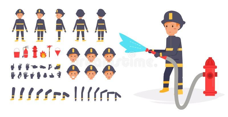 Feuerwehrmann für Animation Haltungsfront, lizenzfreie abbildung