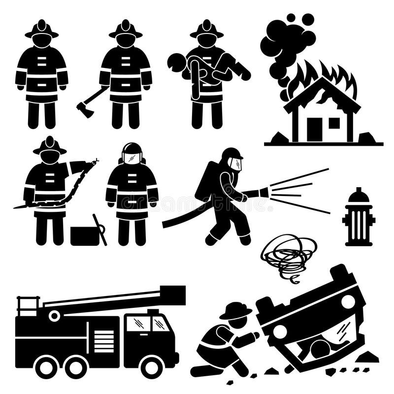 Feuerwehrmann Fireman Rescue Cliparts stock abbildung