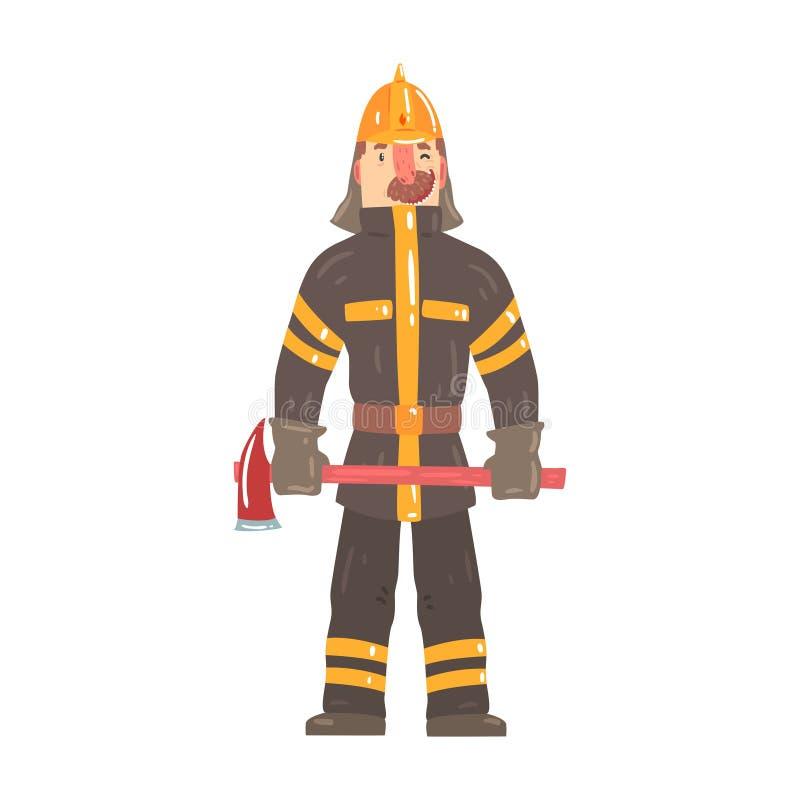 Feuerwehrmann im Schutzhelm und Schutzanzug, der mit Axtzeichentrickfilm-figur-Vektor IllustrationИÐ-½ Ñ 'Ð?рР½ Ð?Ñ 'а steht lizenzfreie abbildung