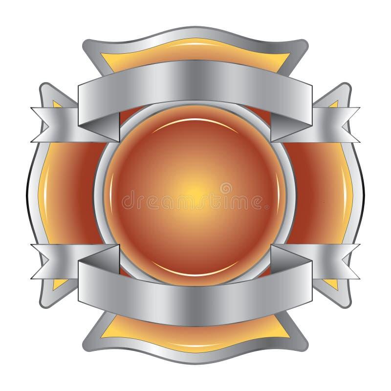 Feuerwehrmann-Kreuz mit Farbbändern vektor abbildung