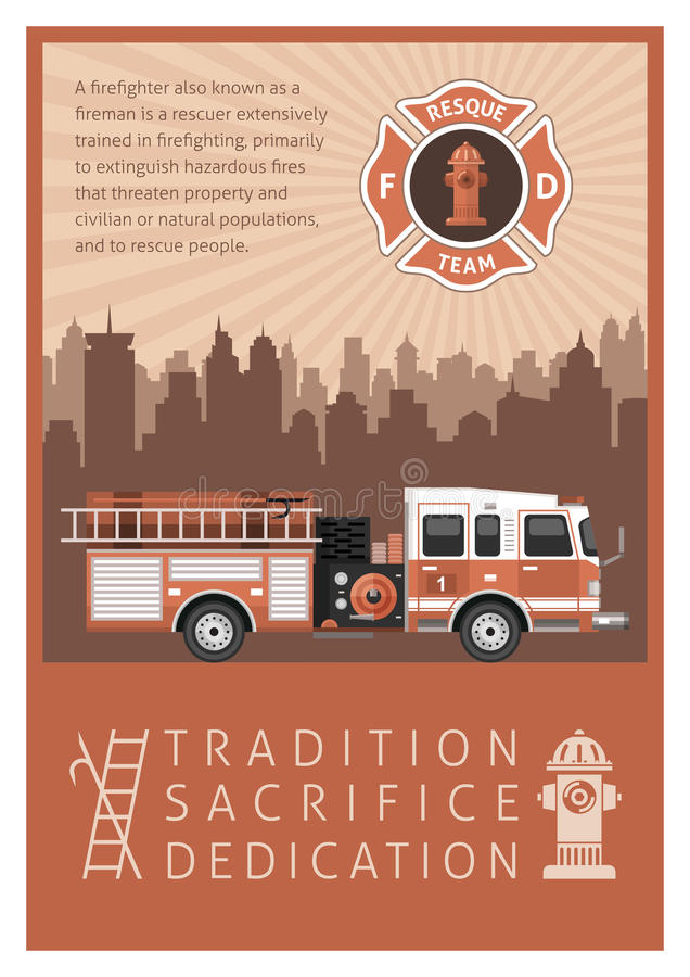 Feuerwehrmann Retro Poster stock abbildung
