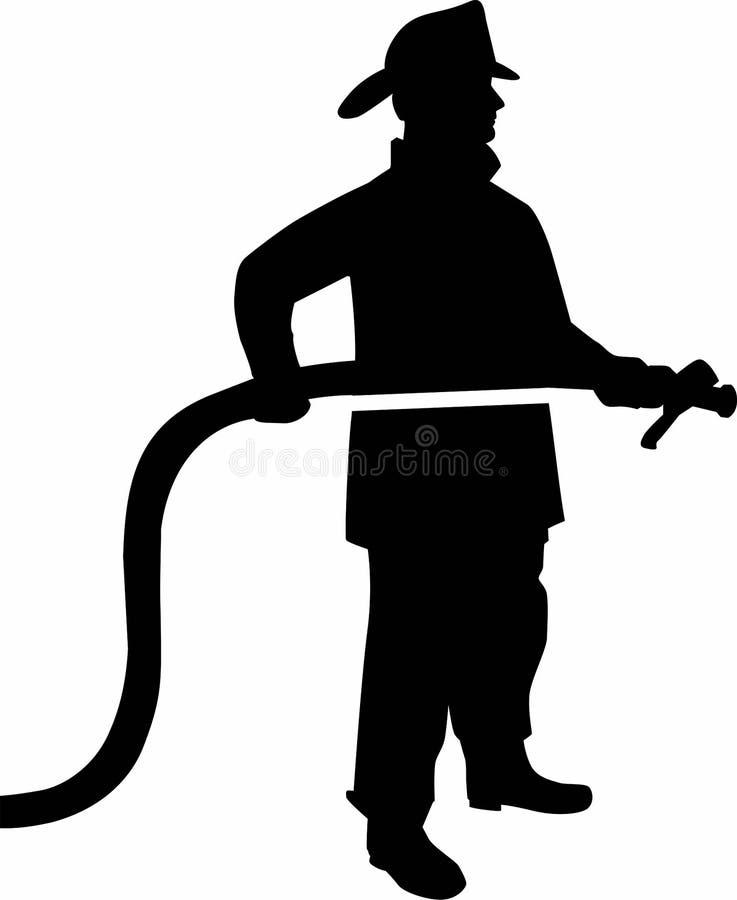 Feuerwehrmann Silhouette mit Schlauch stock abbildung