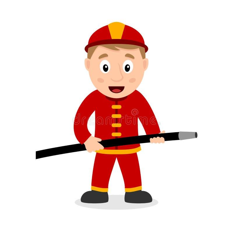 Feuerwehrmann-Zeichentrickfilm-Figur mit Schlauch stock abbildung