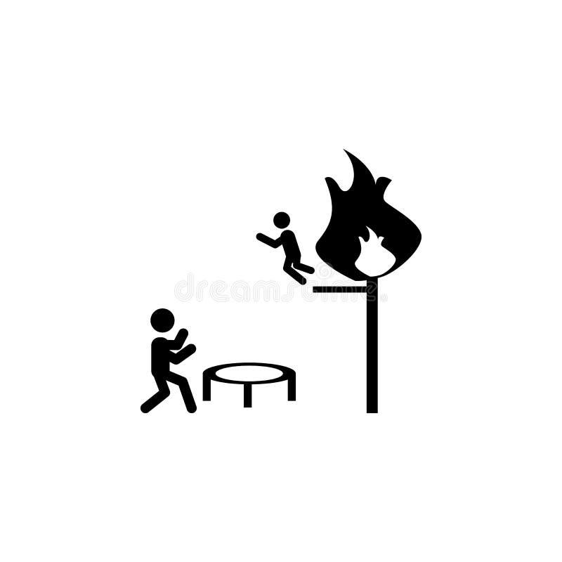 Feuerwehrmannabwehr von einer Feuerikone Feuerwehrmannelementikone vektor abbildung