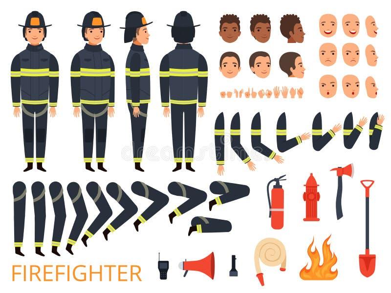 Feuerwehrmanncharaktere Feuerwehrmannkörperteile und spezielle Uniform mit Berufswerkzeugen bekämpfen Feuerlöscherschaufel stock abbildung