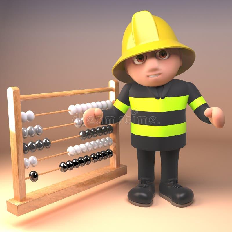 Feuerwehrmannfeuerwehrmann in den Sicherheitsgangpunkten zu einem Abakus, Illustration 3d lizenzfreie abbildung