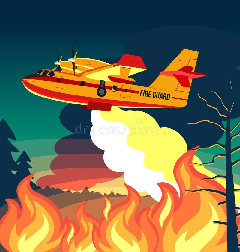Feuerwehrmannfläche des verheerenden Feuers oder Feuerflugzeugjet löschen Feuer-, Plakat- oder Fahnenillustration aus lizenzfreie abbildung