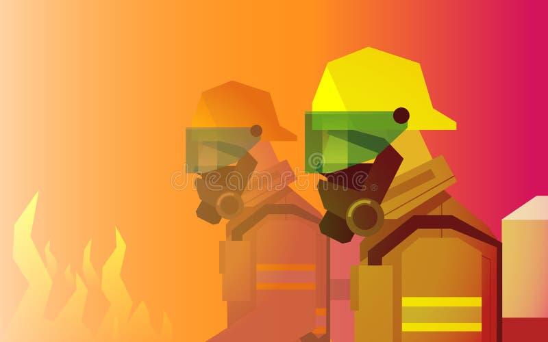 Feuerwehrmannhelden vor Feuer lizenzfreie stockfotografie