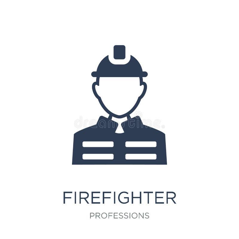 Feuerwehrmannikone Modische flache Vektor Feuerwehrmannikone auf weißem b vektor abbildung