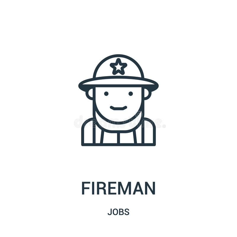 Feuerwehrmannikonenvektor von der Jobsammlung Dünne Linie Feuerwehrmannentwurfsikonen-Vektorillustration Lineares Symbol lizenzfreie abbildung