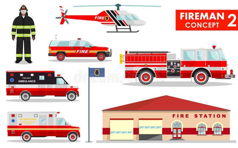 Feuerwehrmannkonzept Ausführliche Illustration des Feuerwehrmanns, des Feuerwachegebäudes, des Firetruck und des Hubschraubers in stock abbildung