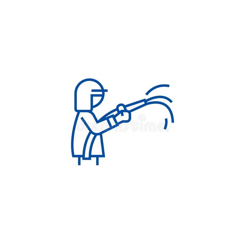Feuerwehrmannlinie Ikonenkonzept Flaches Vektorsymbol des Feuerwehrmanns, Zeichen, Entwurfsillustration lizenzfreie abbildung